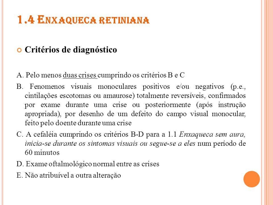 1.5 COMPLICAÇÕES DA ENXAQUECA 1.5.1 Enxaqueca crônica 1.5.2 Estado de mal de enxaqueca 1.5.3 Aura persistente sem enfarto 1.5.4 Enfarte atribuído a enxaqueca 1.5.5 Crise epiléptica desencadeada por enxaqueca