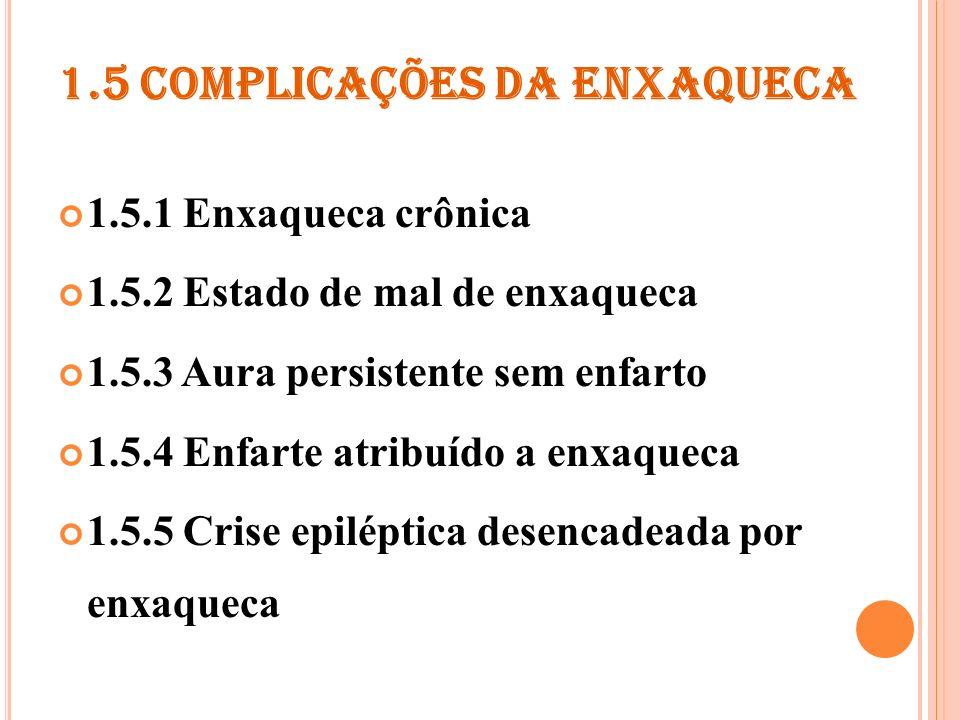 1.5.1 ENXAQUECA CRÔNICA Critérios de diagnóstico A.