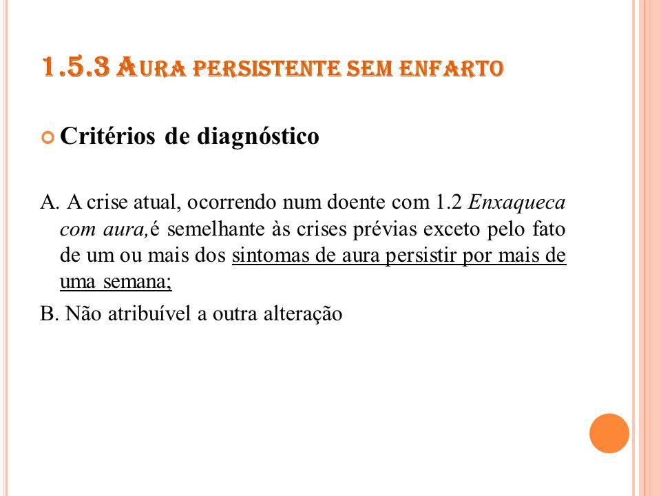 1.5.4 E NFARTE ATRIBUÍDO A ENXAQUECA Critérios de diagnóstico A.