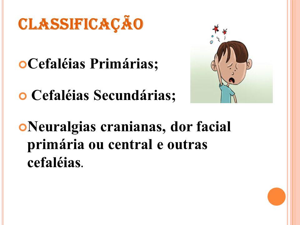 Provocadas por doenças observadas em exames clínico ou laboratoriais Sem etiologia demonstrável por exames clínicos ou laboratoriais Cefaléias Primárias X Cefaléias secundárias Classificação