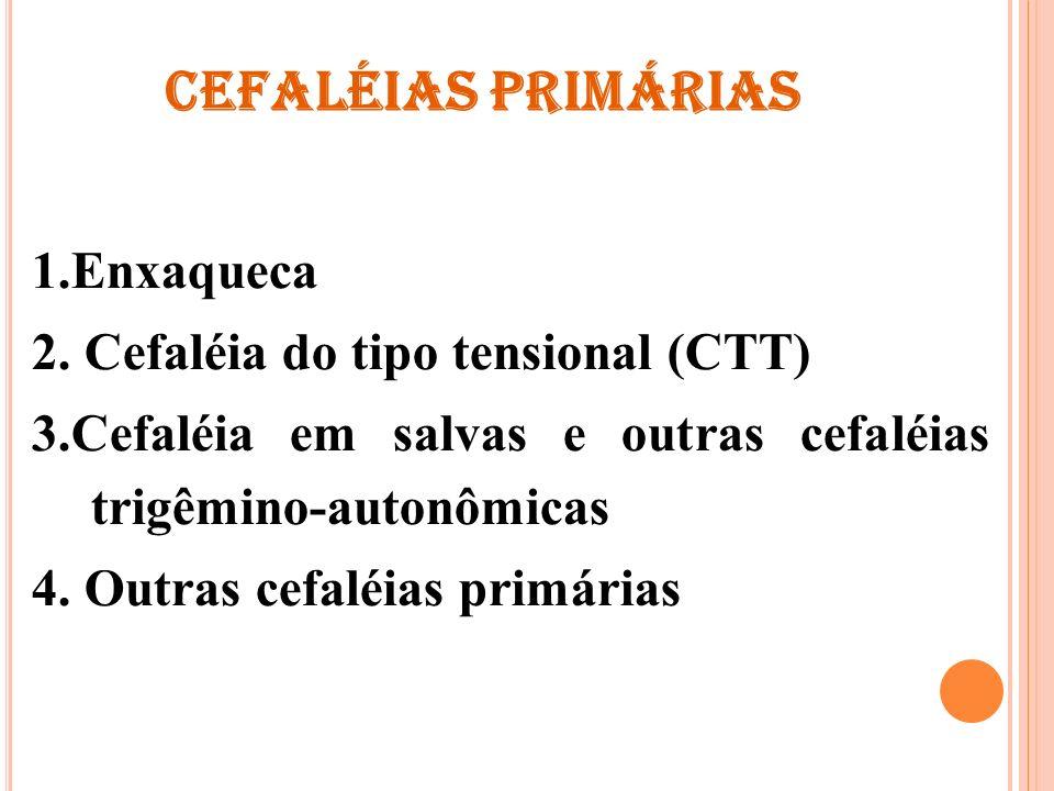 CEFALÉIAS PRIMÁRIAS 1.Enxaqueca 2. Cefaléia do tipo tensional (CTT) 3.Cefaléia em salvas e outras cefaléias trigêmino-autonômicas 4. Outras cefaléias