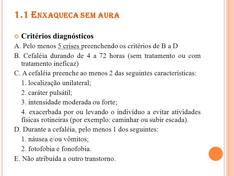 N OTAS Indivíduos com critérios para a 1.1 Enxaqueca sem aura, mas com menos de 5 crises 1.6.1 Provável enxaqueca sem aura Quando as crises ocorrem durante 15 dias/mês durante mais de três meses 1.5.1 Migrânea crônica.