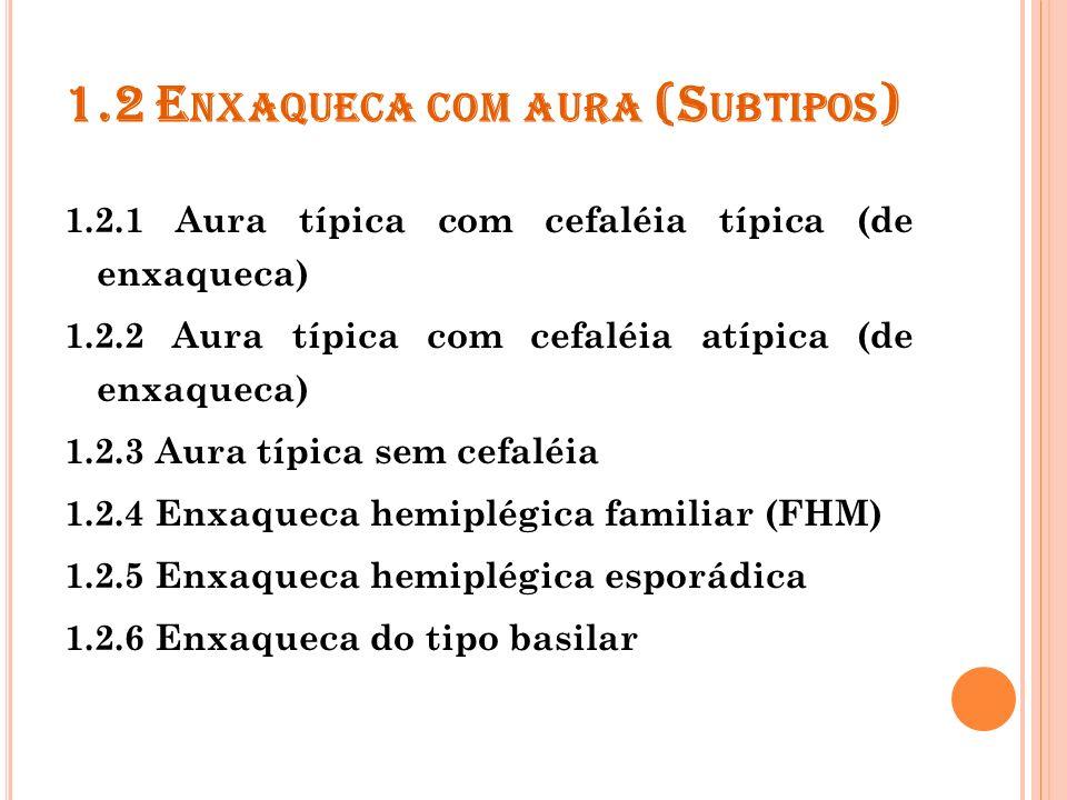 A aura é o conjunto de sintomas neurológicos focais reversíveis que se desenvolvem em 5 a 20 minutos e duram menos de 1 hora.