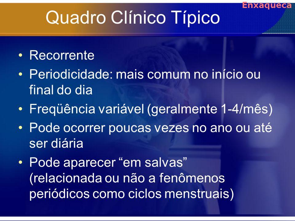 Quadro Clínico Típico Recorrente Periodicidade: mais comum no início ou final do dia Freqüência variável (geralmente 1-4/mês) Pode ocorrer poucas veze