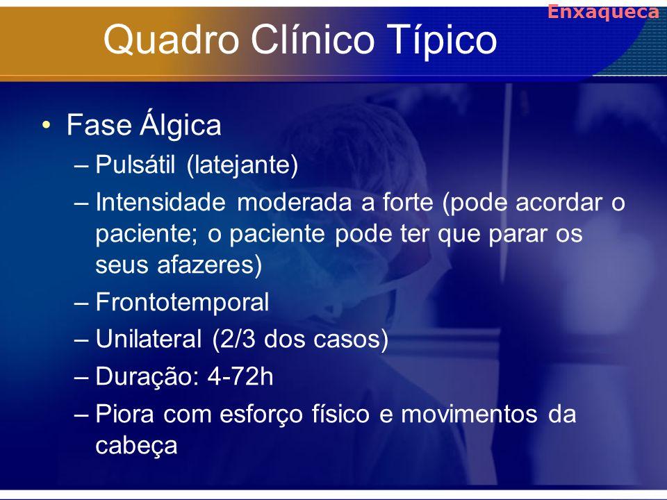 Quadro Clínico Típico Fase Álgica –Pulsátil (latejante) –Intensidade moderada a forte (pode acordar o paciente; o paciente pode ter que parar os seus