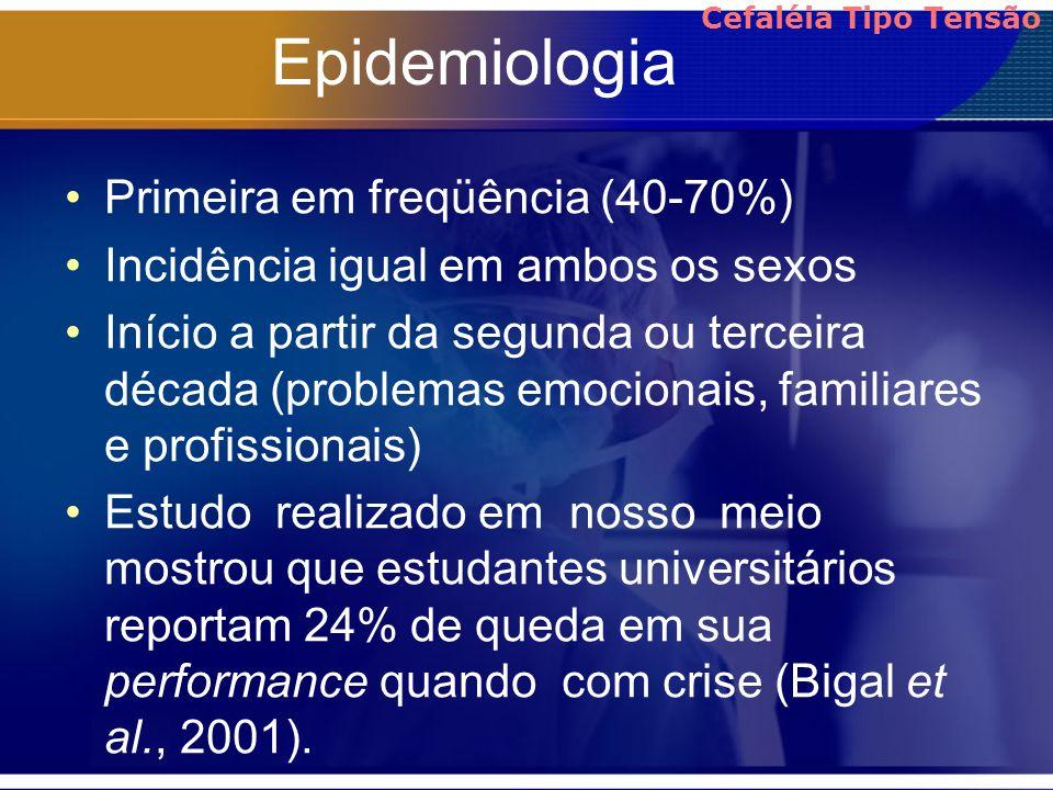 Epidemiologia Primeira em freqüência (40-70%) Incidência igual em ambos os sexos Início a partir da segunda ou terceira década (problemas emocionais,