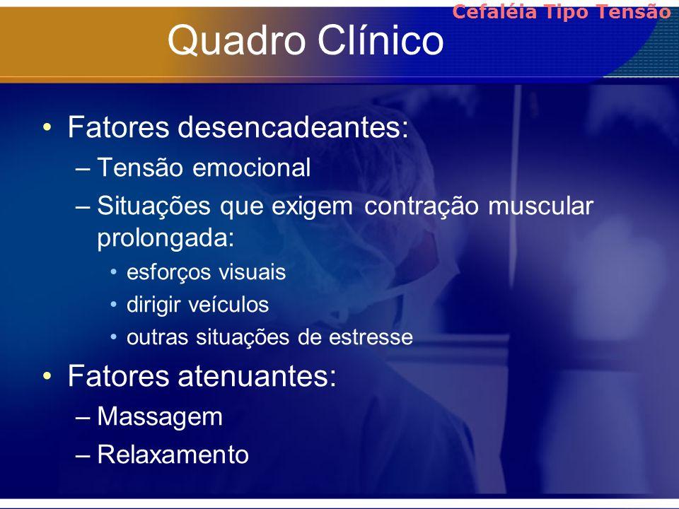 Quadro Clínico Fatores desencadeantes: –Tensão emocional –Situações que exigem contração muscular prolongada: esforços visuais dirigir veículos outras