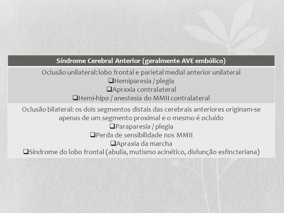 Síndrome Cerebral Anterior (geralmente AVE embólico) Oclusão unilateral: lobo frontal e parietal medial anterior unilateral Hemiparesia / plegia Aprax