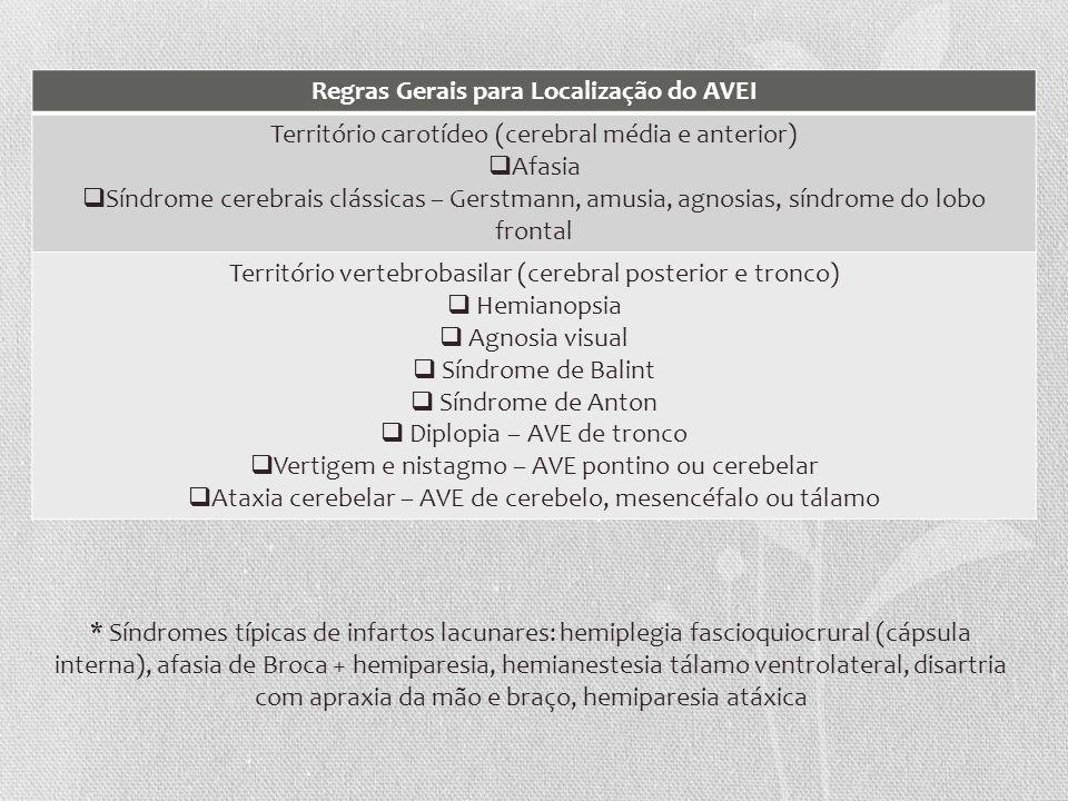 Regras Gerais para Localização do AVEI Território carotídeo (cerebral média e anterior) Afasia Síndrome cerebrais clássicas – Gerstmann, amusia, agnos