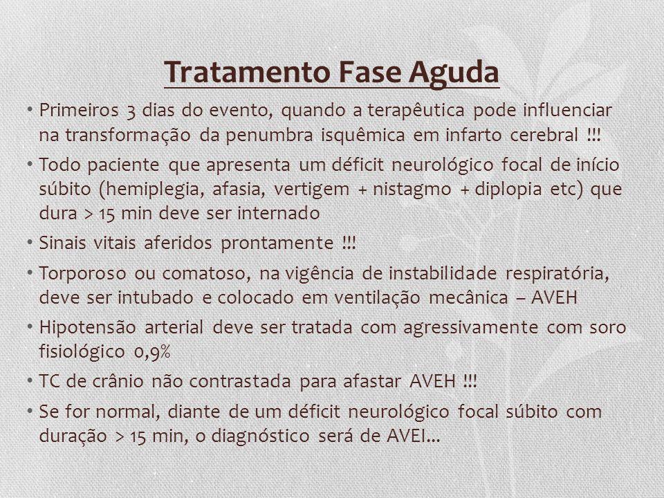 Tratamento Fase Aguda Primeiros 3 dias do evento, quando a terapêutica pode influenciar na transformação da penumbra isquêmica em infarto cerebral !!!