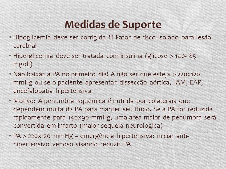 Medidas de Suporte Hipoglicemia deve ser corrigida !!! Fator de risco isolado para lesão cerebral Hiperglicemia deve ser tratada com insulina (glicose