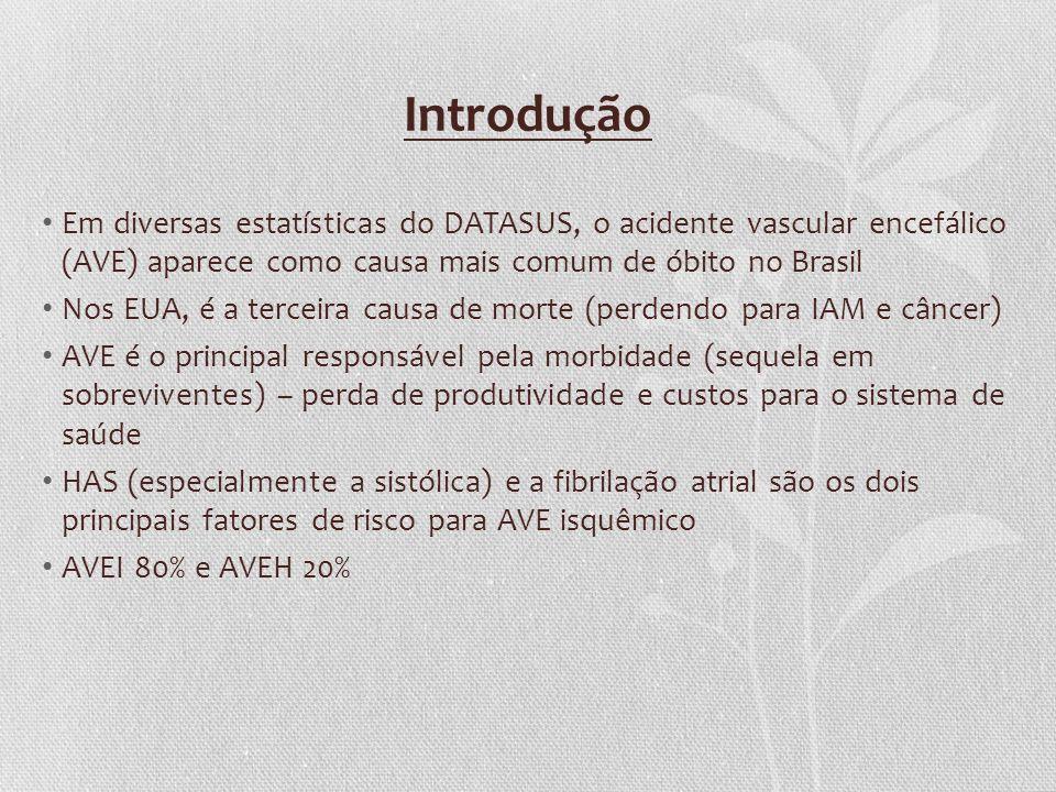 Introdução Em diversas estatísticas do DATASUS, o acidente vascular encefálico (AVE) aparece como causa mais comum de óbito no Brasil Nos EUA, é a ter