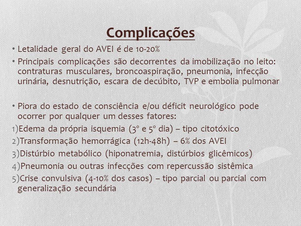 Complicações Letalidade geral do AVEI é de 10-20% Principais complicações são decorrentes da imobilização no leito: contraturas musculares, broncoaspi