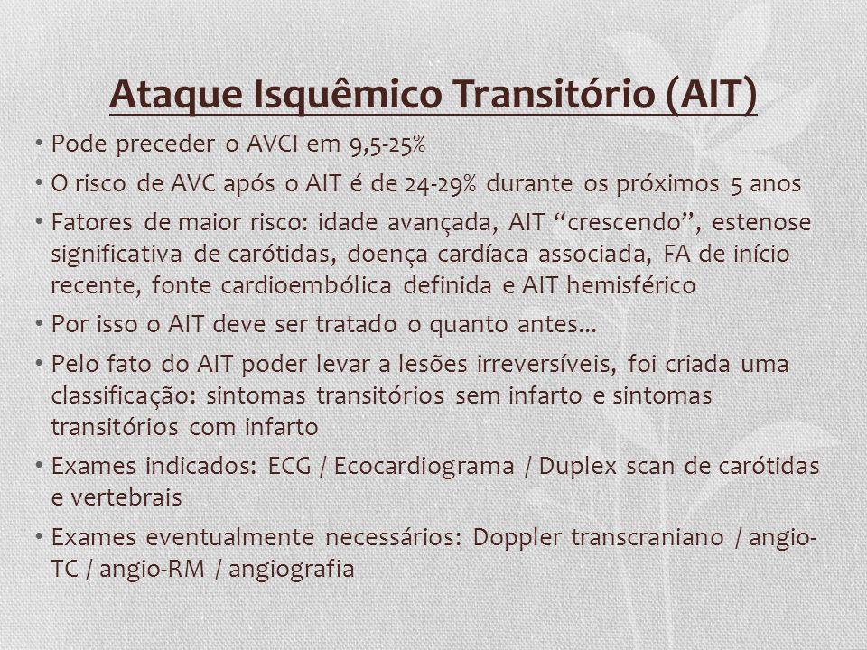 Ataque Isquêmico Transitório (AIT) Pode preceder o AVCI em 9,5-25% O risco de AVC após o AIT é de 24-29% durante os próximos 5 anos Fatores de maior r