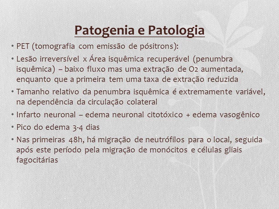 Patogenia e Patologia PET (tomografia com emissão de pósitrons): Lesão irreversível x Área isquêmica recuperável (penumbra isquêmica) – baixo fluxo ma