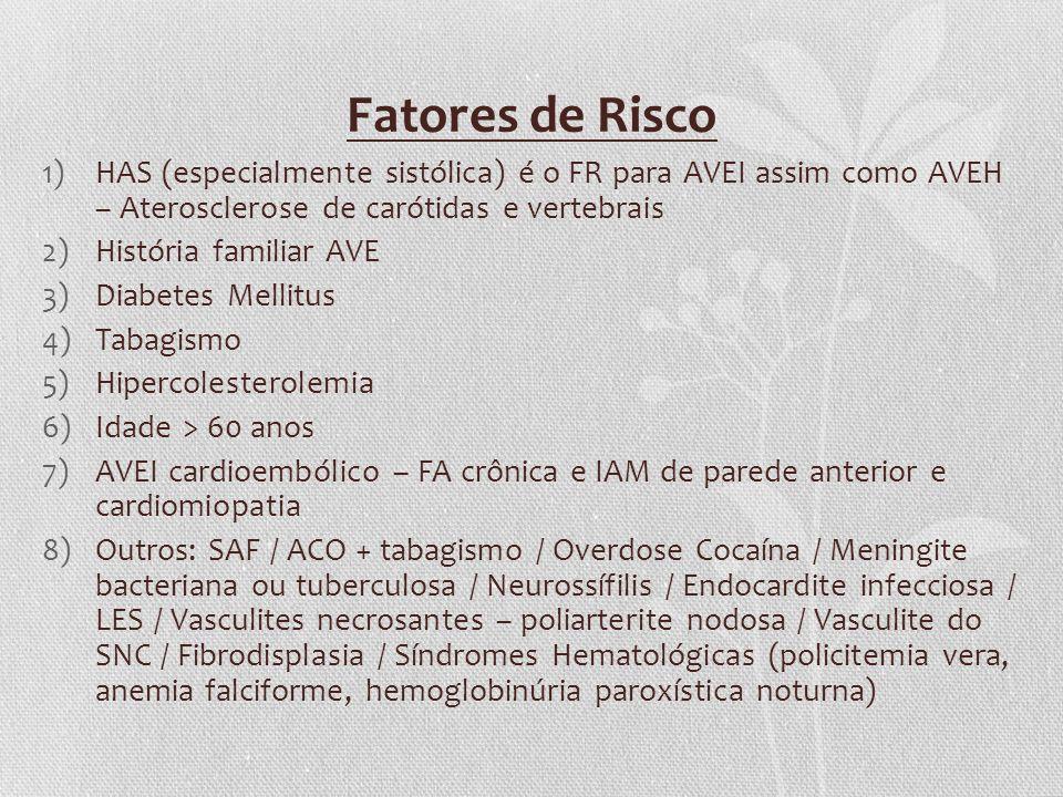 Fatores de Risco 1)HAS (especialmente sistólica) é o FR para AVEI assim como AVEH – Aterosclerose de carótidas e vertebrais 2)História familiar AVE 3)