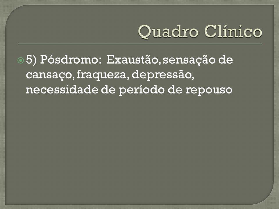 5) Pósdromo: Exaustão, sensação de cansaço, fraqueza, depressão, necessidade de período de repouso