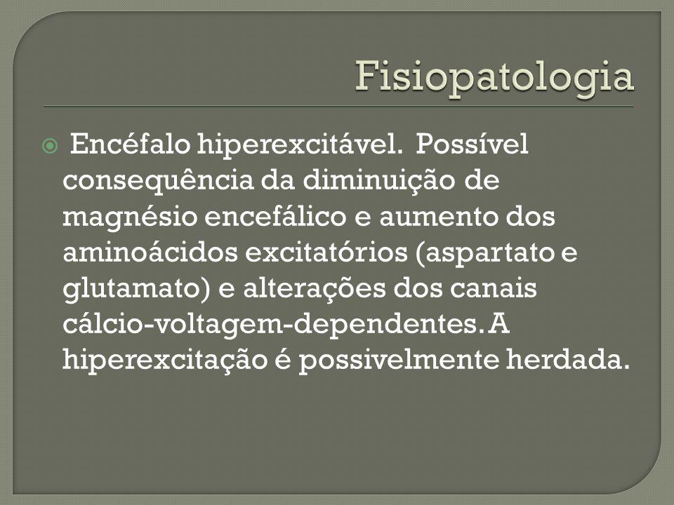 Encéfalo hiperexcitável. Possível consequência da diminuição de magnésio encefálico e aumento dos aminoácidos excitatórios (aspartato e glutamato) e a