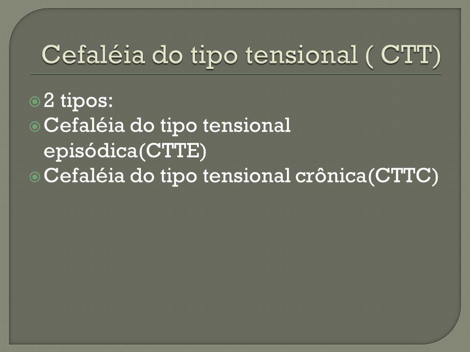2 tipos: Cefaléia do tipo tensional episódica(CTTE) Cefaléia do tipo tensional crônica(CTTC)
