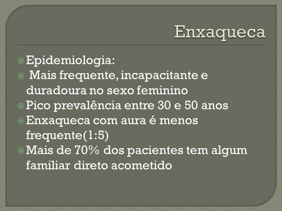 Epidemiologia: Mais frequente, incapacitante e duradoura no sexo feminino Pico prevalência entre 30 e 50 anos Enxaqueca com aura é menos frequente(1:5