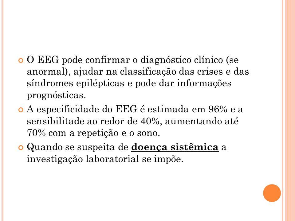 O EEG pode confirmar o diagnóstico clínico (se anormal), ajudar na classificação das crises e das síndromes epilépticas e pode dar informações prognós