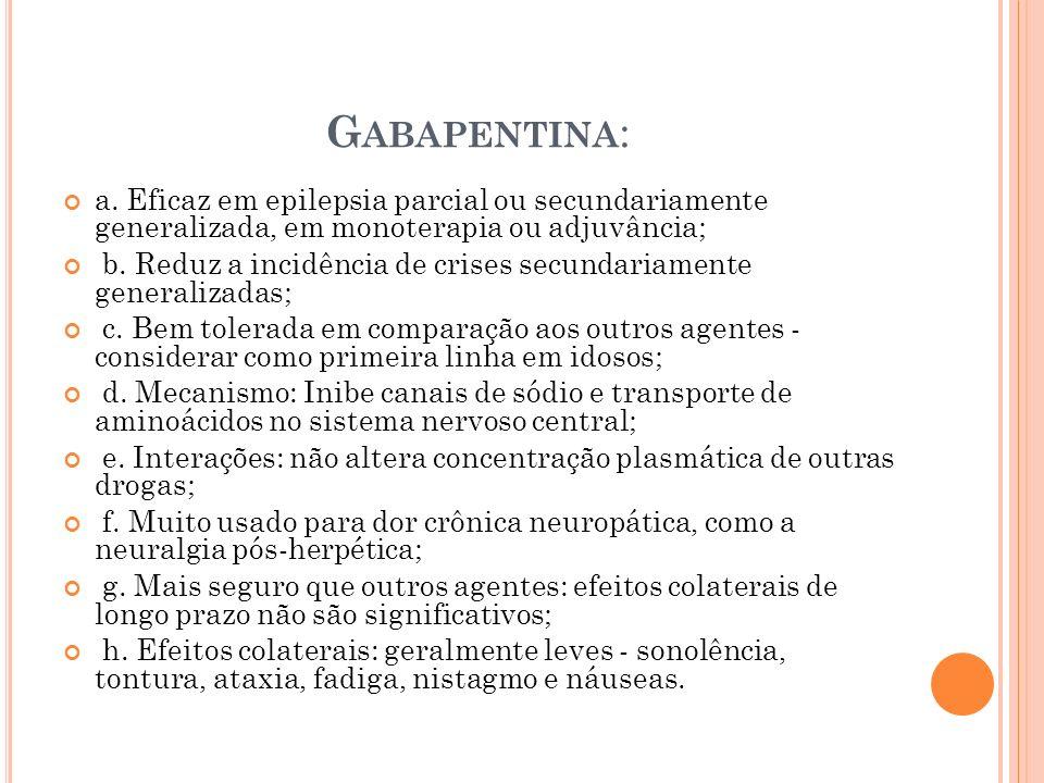 G ABAPENTINA : a. Eficaz em epilepsia parcial ou secundariamente generalizada, em monoterapia ou adjuvância; b. Reduz a incidência de crises secundari