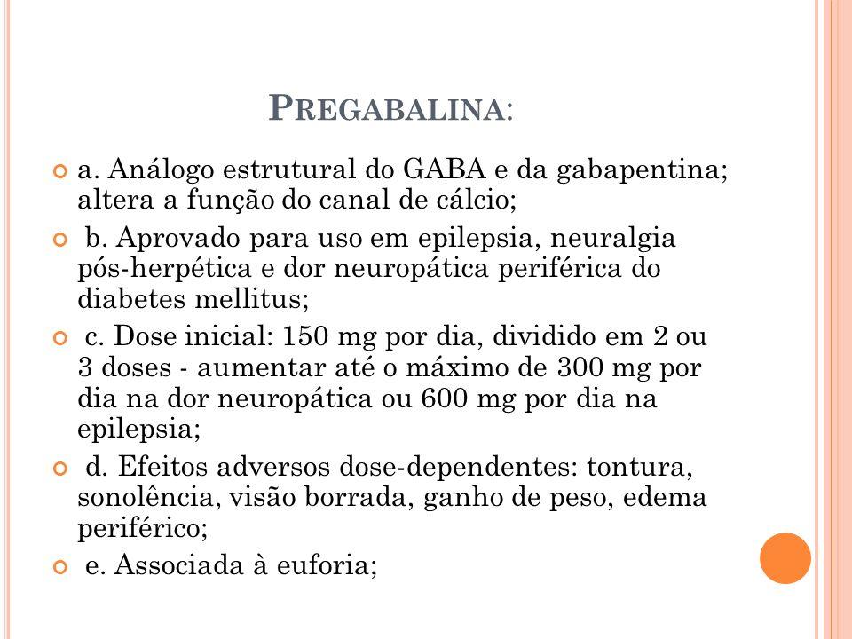 P REGABALINA : a. Análogo estrutural do GABA e da gabapentina; altera a função do canal de cálcio; b. Aprovado para uso em epilepsia, neuralgia pós-he