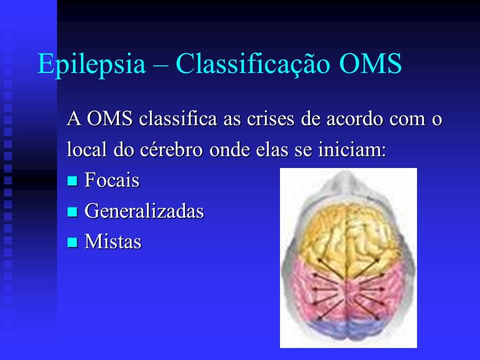 Epilepsia – Classificação OMS A OMS classifica as crises de acordo com o local do cérebro onde elas se iniciam: Focais Focais Generalizadas Generaliza