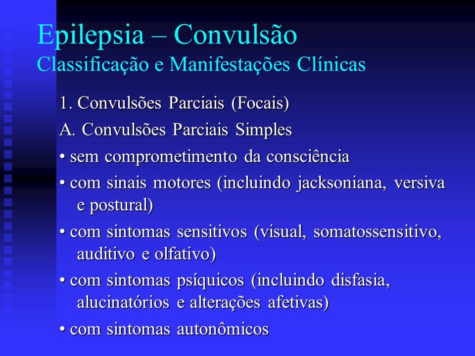 Epilepsia – Convulsão Classificação e Manifestações Clínicas 1. Convulsões Parciais (Focais) A. Convulsões Parciais Simples sem comprometimento da con