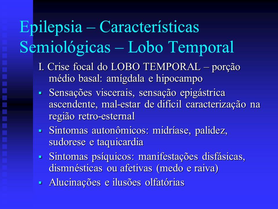 Epilepsia – Características Semiológicas – Lobo Temporal I. Crise focal do LOBO TEMPORAL – porção médio basal: amígdala e hipocampo Sensações viscerai