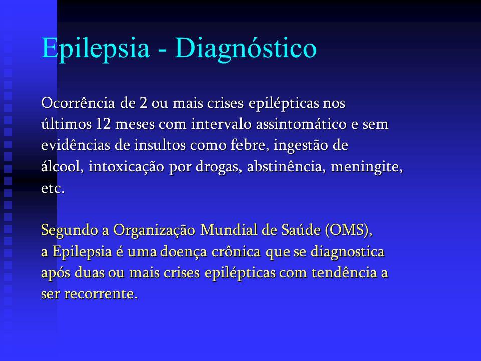 Epilepsia - Diagnóstico Ocorrência de 2 ou mais crises epilépticas nos últimos 12 meses com intervalo assintomático e sem evidências de insultos como