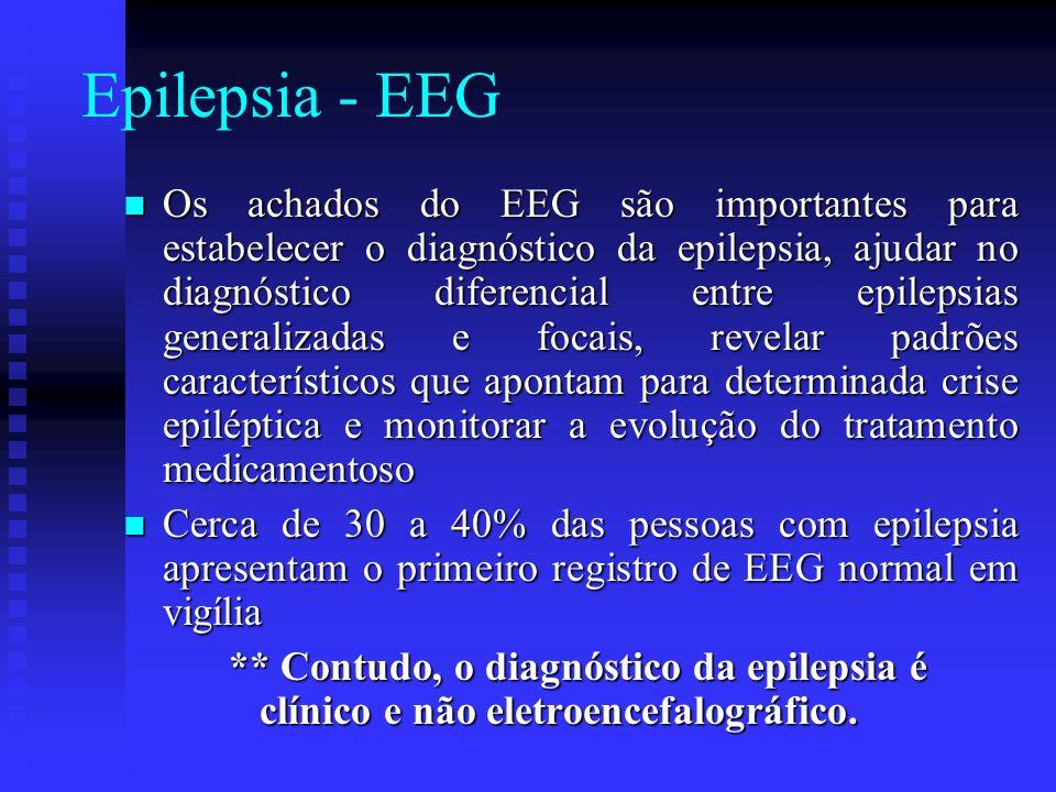 Epilepsia - EEG Os achados do EEG são importantes para estabelecer o diagnóstico da epilepsia, ajudar no diagnóstico diferencial entre epilepsias gene