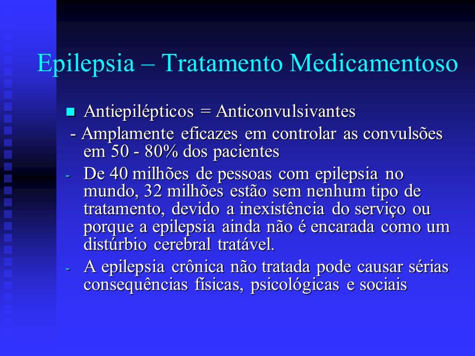 Epilepsia – Tratamento Medicamentoso Antiepilépticos = Anticonvulsivantes Antiepilépticos = Anticonvulsivantes - Amplamente eficazes em controlar as c