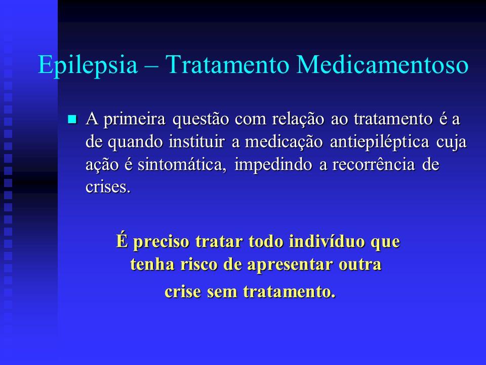 Epilepsia – Tratamento Medicamentoso A primeira questão com relação ao tratamento é a de quando instituir a medicação antiepiléptica cuja ação é sinto