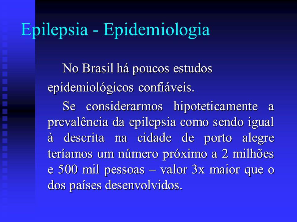 Epilepsia - Epidemiologia No Brasil há poucos estudos epidemiológicos confiáveis. Se considerarmos hipoteticamente a prevalência da epilepsia como sen