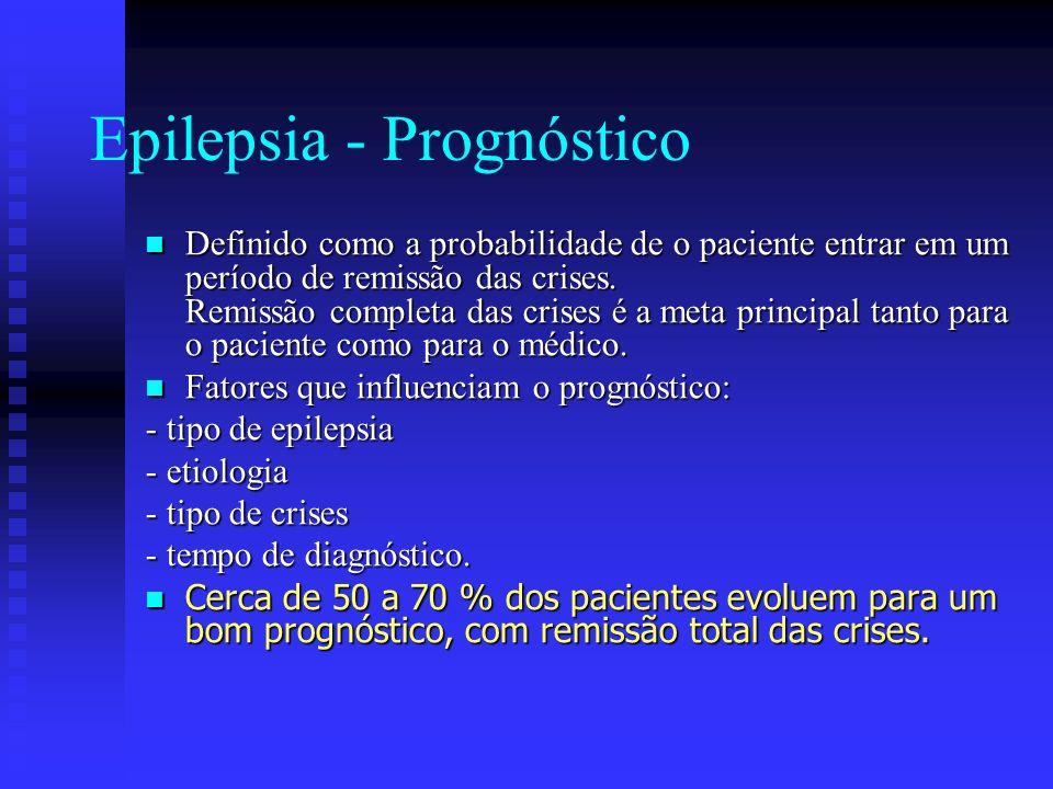 Epilepsia - Prognóstico Definido como a probabilidade de o paciente entrar em um período de remissão das crises. Remissão completa das crises é a meta