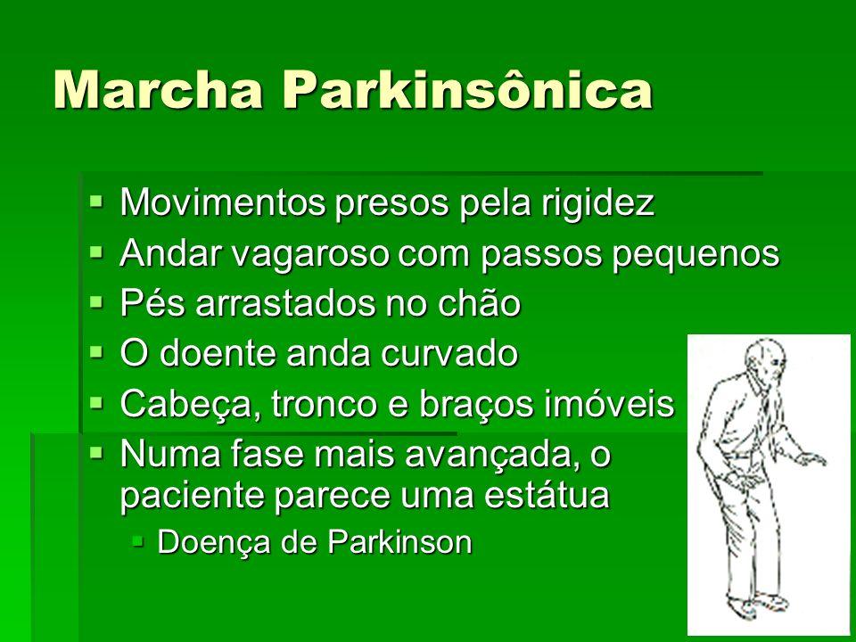 Marcha Parkinsônica Movimentos presos pela rigidez Movimentos presos pela rigidez Andar vagaroso com passos pequenos Andar vagaroso com passos pequeno