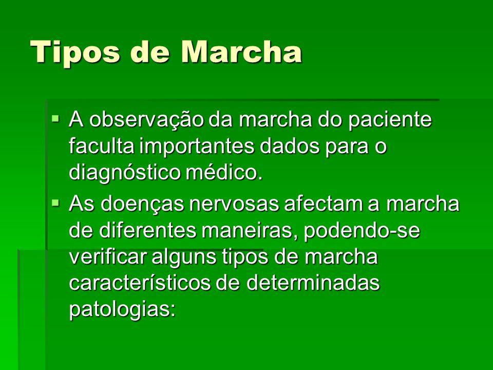 Tipos de Marcha A observação da marcha do paciente faculta importantes dados para o diagnóstico médico. A observação da marcha do paciente faculta imp