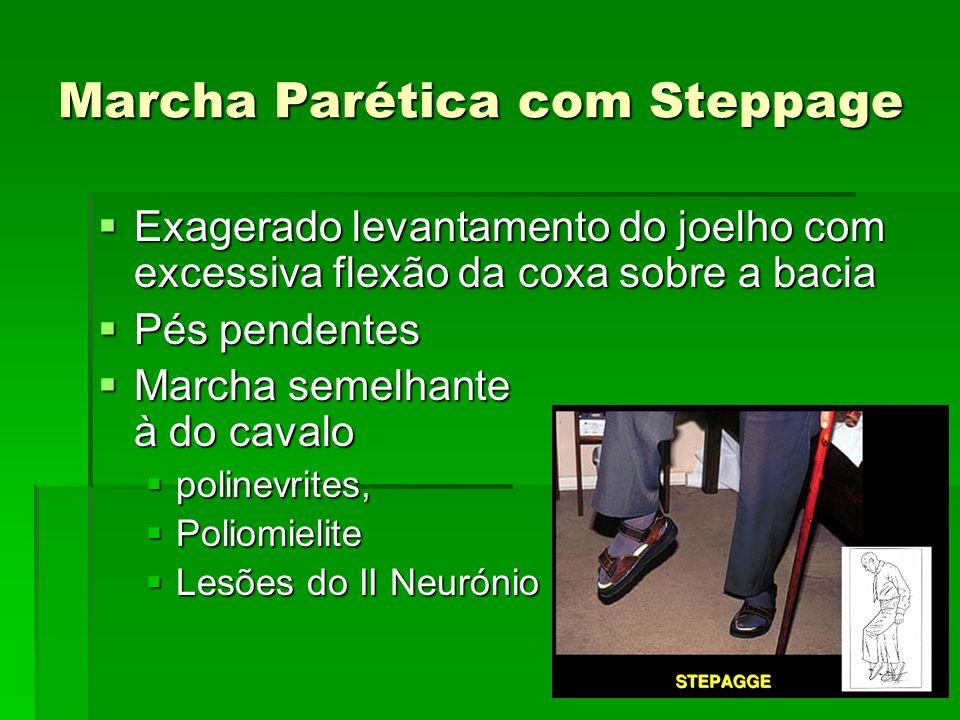 Marcha Parética com Steppage Exagerado levantamento do joelho com excessiva flexão da coxa sobre a bacia Exagerado levantamento do joelho com excessiv