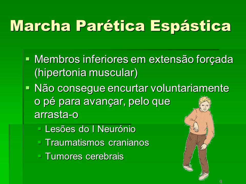 Marcha Parética Espástica Membros inferiores em extensão forçada (hipertonia muscular) Membros inferiores em extensão forçada (hipertonia muscular) Nã
