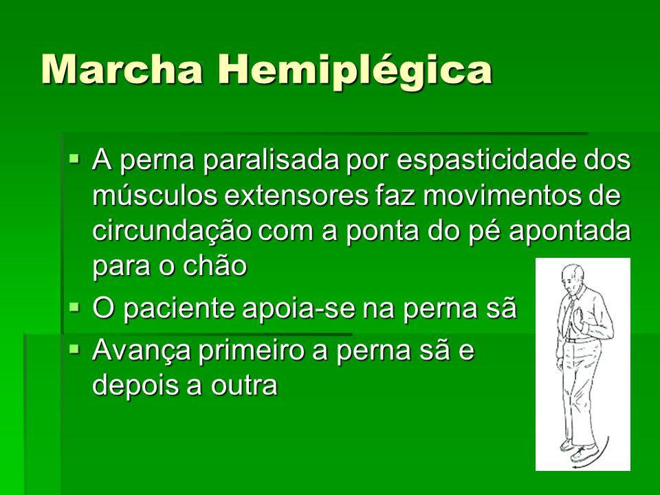 Marcha Hemiplégica A perna paralisada por espasticidade dos músculos extensores faz movimentos de circundação com a ponta do pé apontada para o chão A