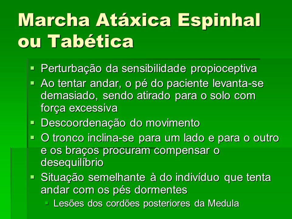 Marcha Atáxica Espinhal ou Tabética Perturbação da sensibilidade propioceptiva Perturbação da sensibilidade propioceptiva Ao tentar andar, o pé do pac