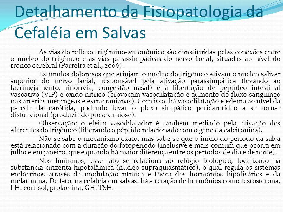 Detalhamento da Fisiopatologia da Cefaléia em Salvas As vias do reflexo trigêmino-autonômico são constituídas pelas conexões entre o núcleo do trigême