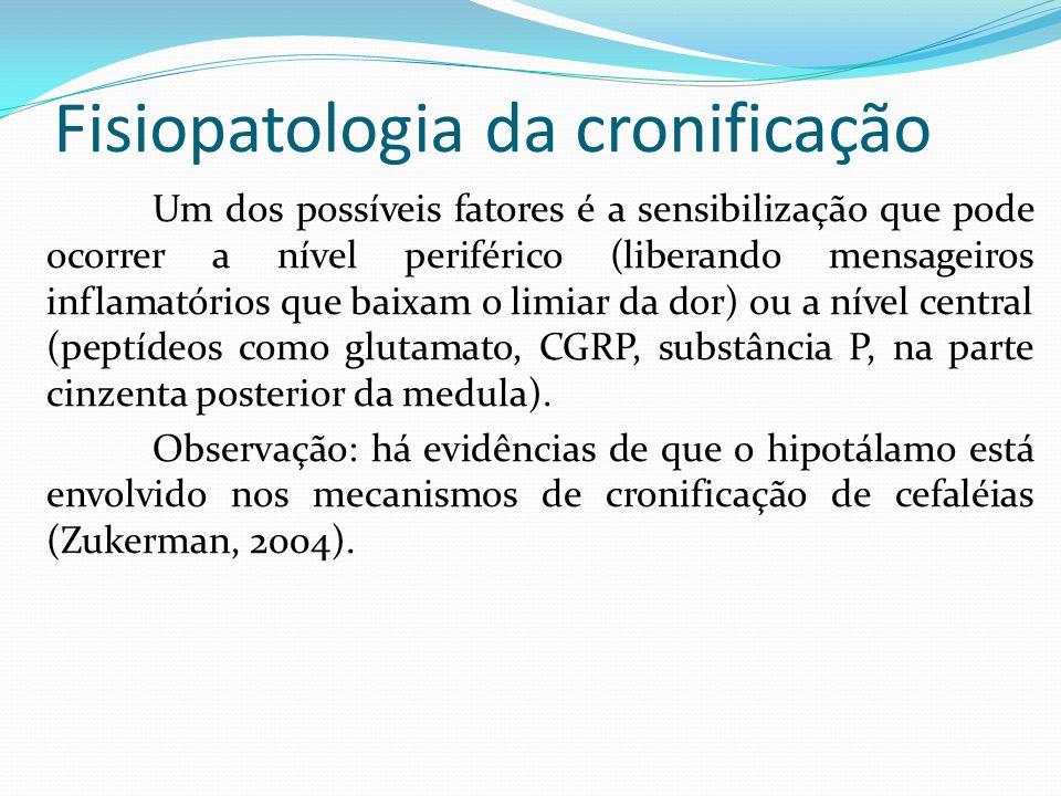 Fisiopatologia da cronificação Um dos possíveis fatores é a sensibilização que pode ocorrer a nível periférico (liberando mensageiros inflamatórios qu