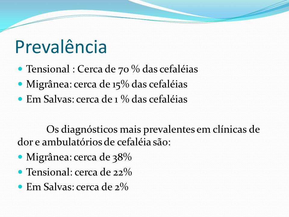 Prevalência Tensional : Cerca de 70 % das cefaléias Migrânea: cerca de 15% das cefaléias Em Salvas: cerca de 1 % das cefaléias Os diagnósticos mais pr