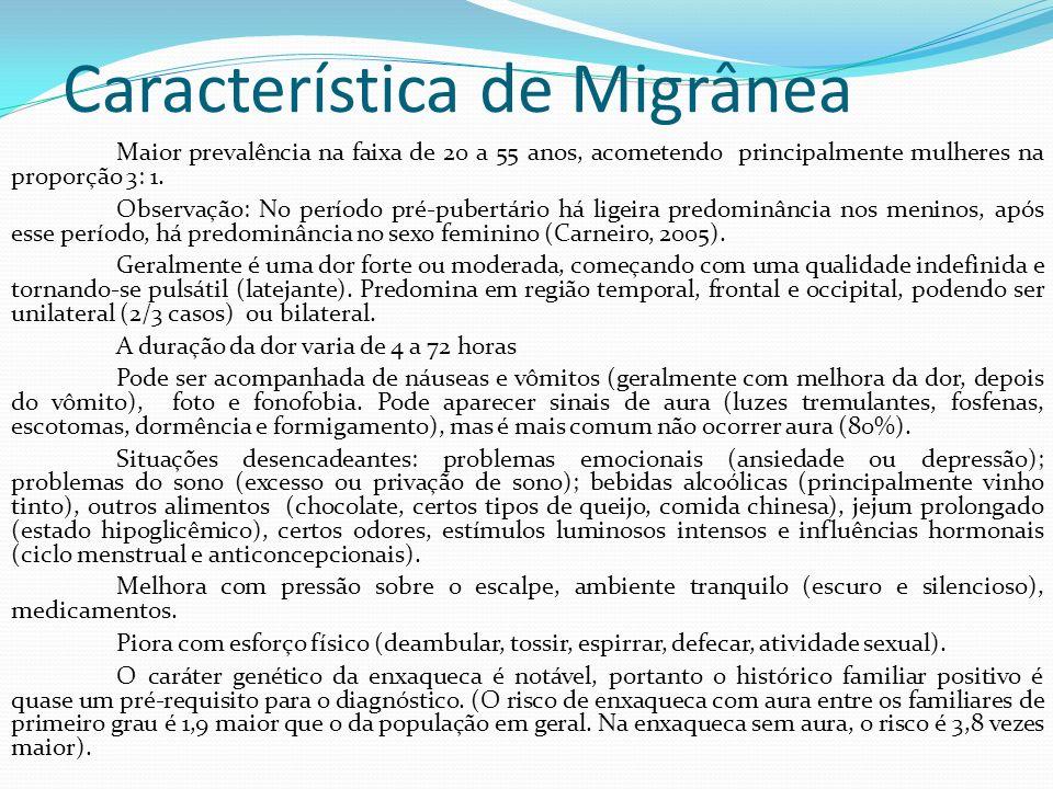Característica de Migrânea Maior prevalência na faixa de 20 a 55 anos, acometendo principalmente mulheres na proporção 3: 1. Observação: No período pr