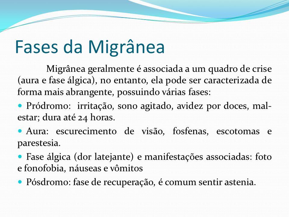 Fases da Migrânea Migrânea geralmente é associada a um quadro de crise (aura e fase álgica), no entanto, ela pode ser caracterizada de forma mais abra