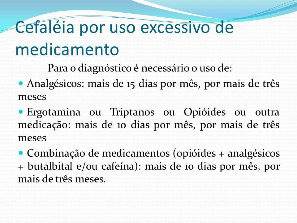 Cefaléia por uso excessivo de medicamento Para o diagnóstico é necessário o uso de: Analgésicos: mais de 15 dias por mês, por mais de três meses Ergot