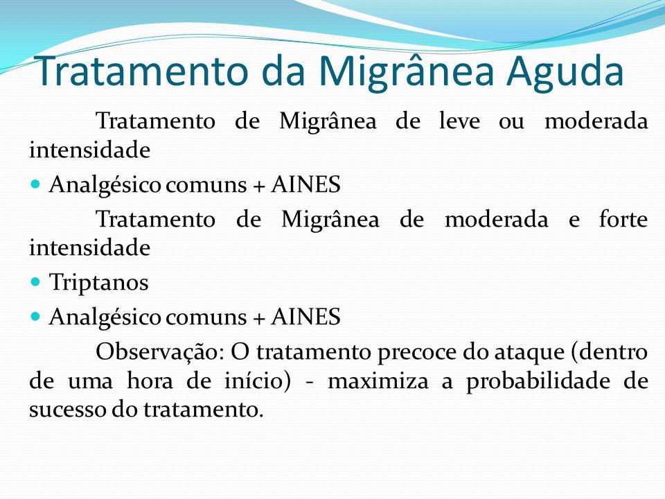 Tratamento da Migrânea Aguda Tratamento de Migrânea de leve ou moderada intensidade Analgésico comuns + AINES Tratamento de Migrânea de moderada e for