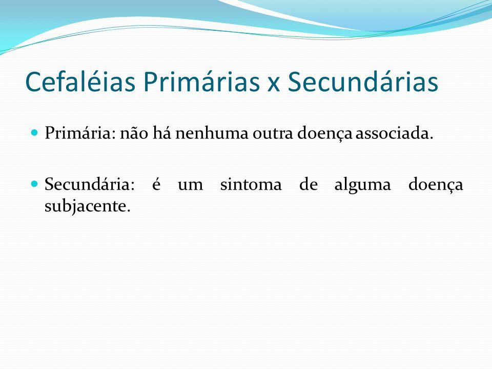 Cefaléias Primárias x Secundárias Primária: não há nenhuma outra doença associada. Secundária: é um sintoma de alguma doença subjacente.